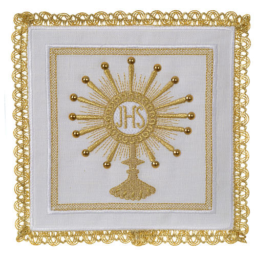 Altar linen set monstrance with glass appliques 100% linen 1