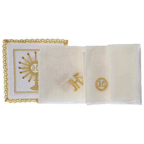Altar linen set monstrance with glass appliques 100% linen 3