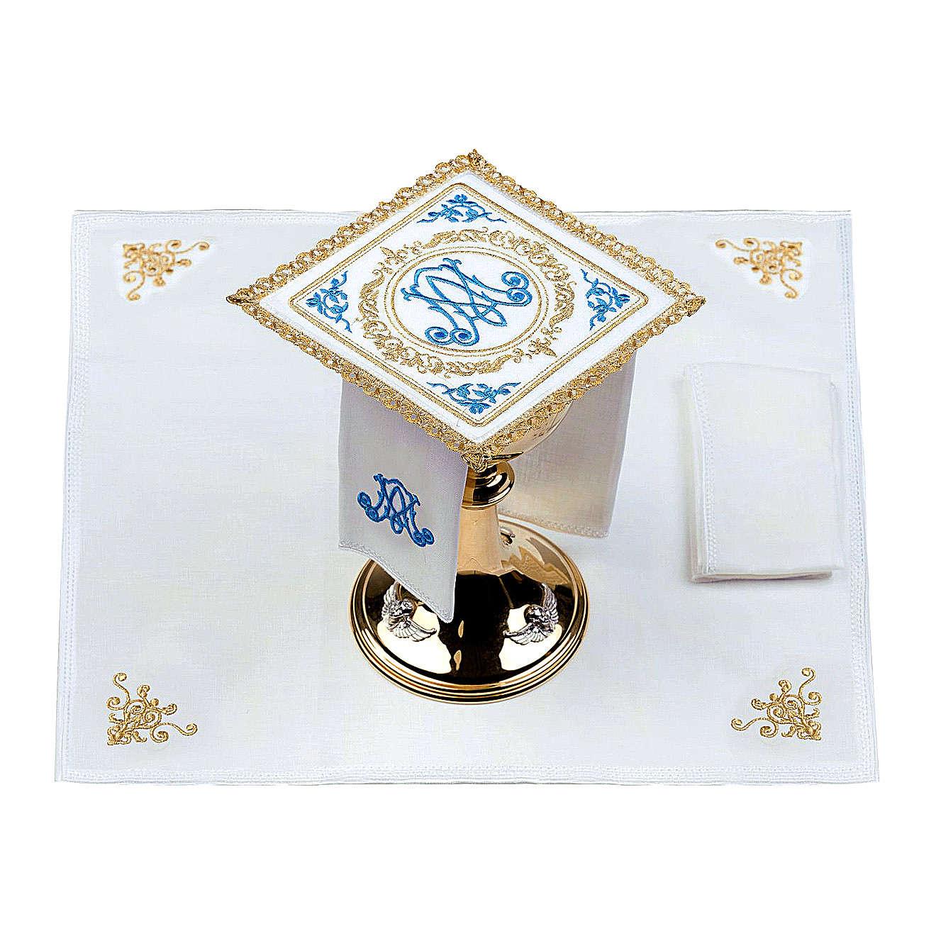 Altar linens set 100% linen Marian symbol 4