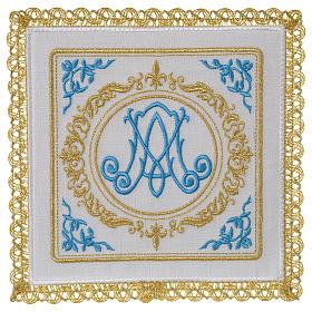 Altar linens set 100% linen Marian symbol s1