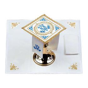 Altar linens set 100% linen Marian symbol s2