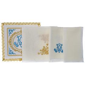 Altar linens set 100% linen Marian symbol s3