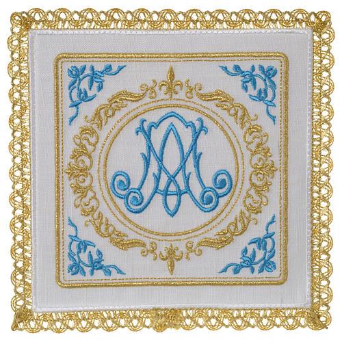 Altar linens set 100% linen Marian symbol 1