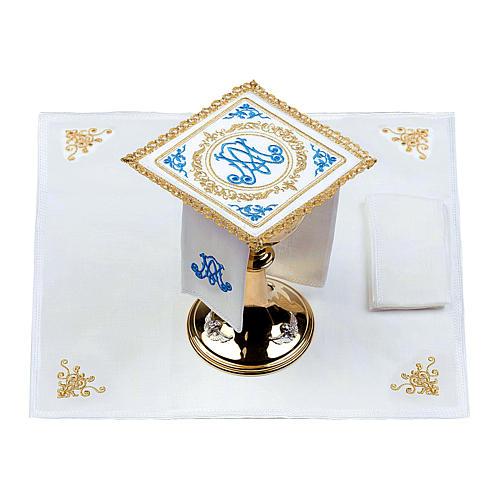 Altar linens set 100% linen Marian symbol 2