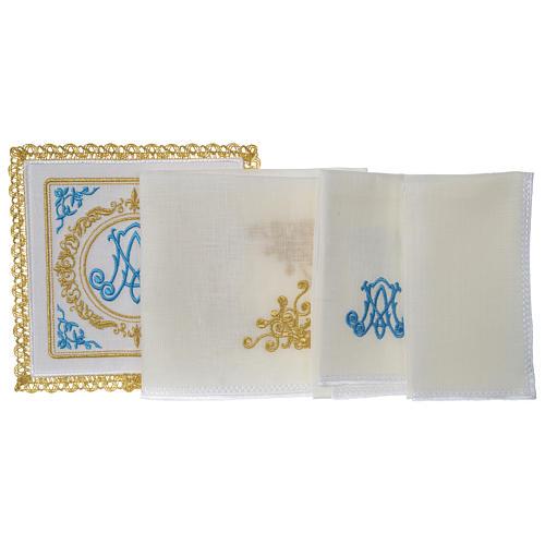 Altar linens set 100% linen Marian symbol 3