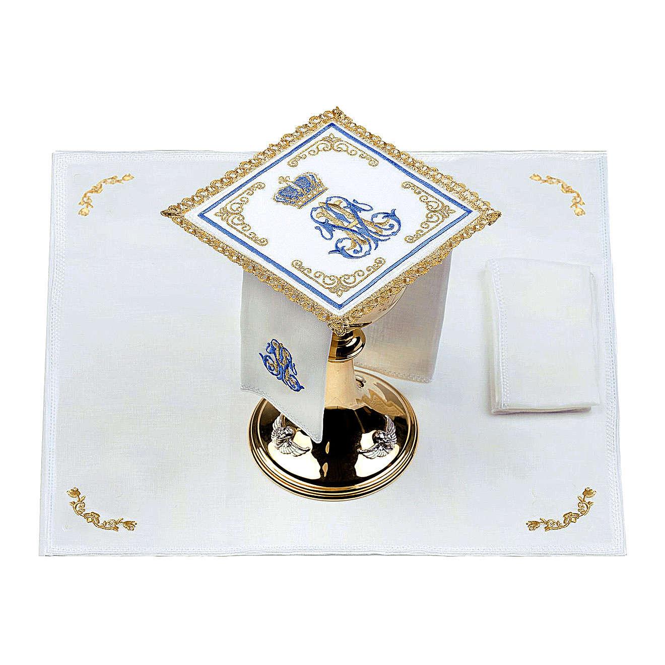 Linge d'autel 100% lin marial Couronne 4