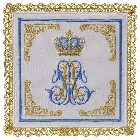 Linge d'autel 100% lin marial Couronne s1