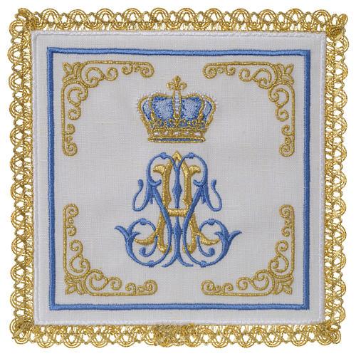 Linge d'autel 100% lin marial Couronne 1