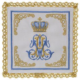 Marian mass linen set 100% linen with embroidered crown s1