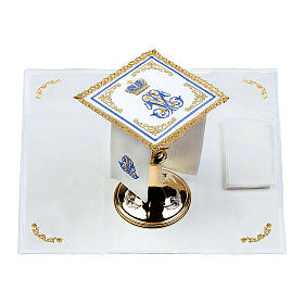 Marian mass linen set 100% linen with embroidered crown s2