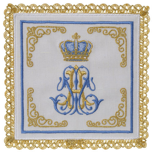 Marian mass linen set 100% linen with embroidered crown 1
