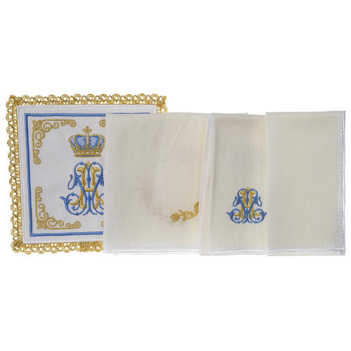 Marian mass linen set 100% linen with embroidered crown 3