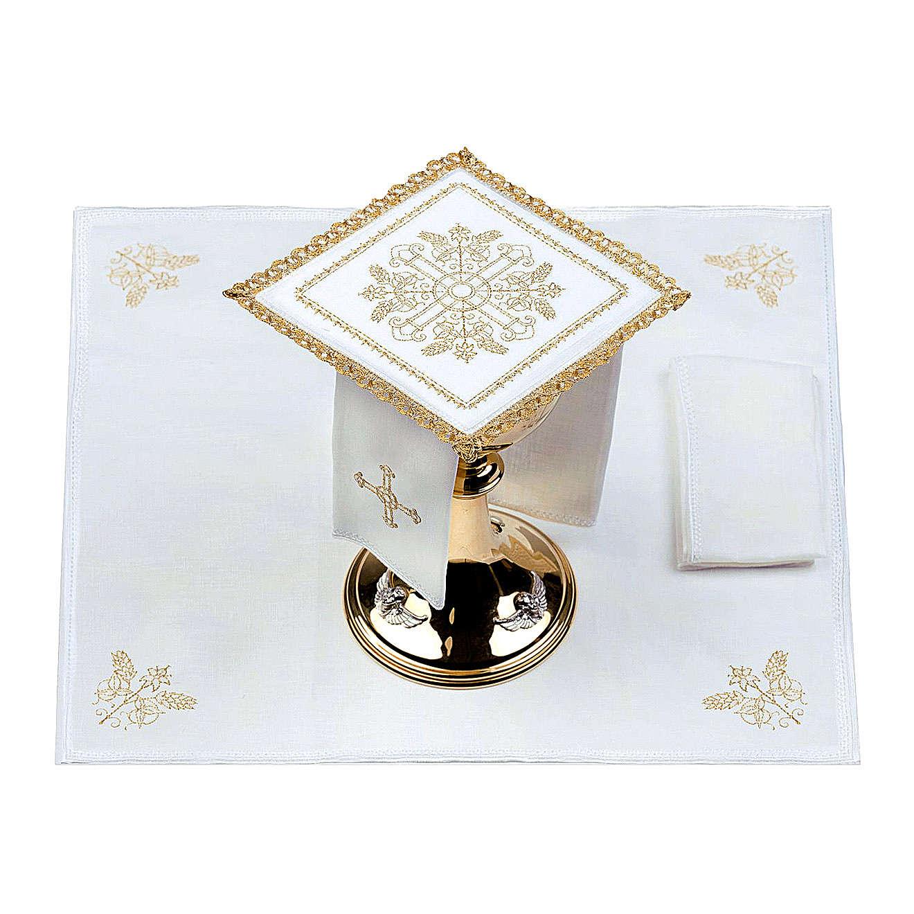 Servizio da altare 100% lino Croci con spighe 4