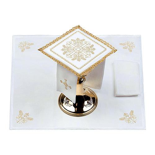 Servizio da altare 100% lino Croci con spighe 2