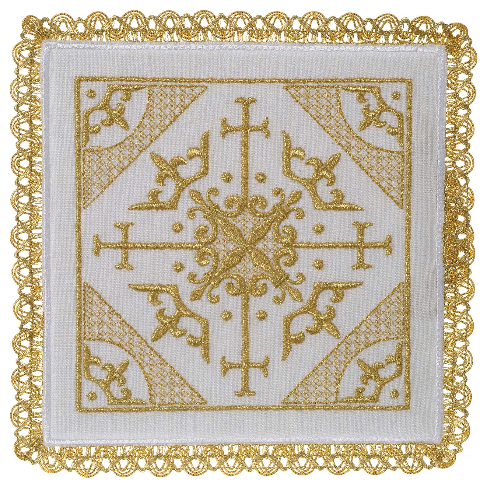 Servizio da altare 100% lino ricamo Croci 4