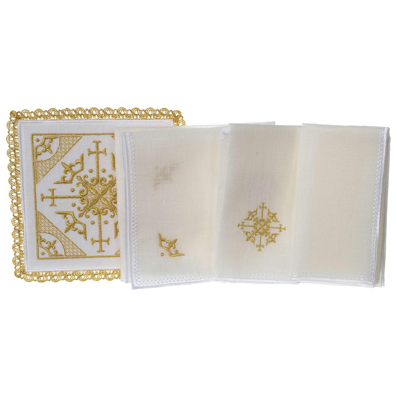 Conjunto altar 100% linho bordado cruzes 4