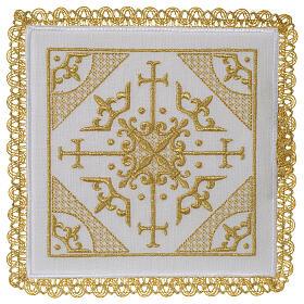 Conjunto altar 100% linho bordado cruzes s1