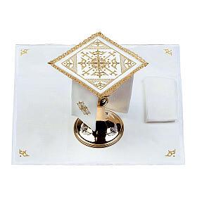Conjunto altar 100% linho bordado cruzes s2