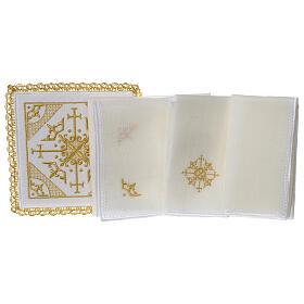 Conjunto altar 100% linho bordado cruzes s3