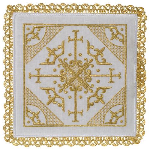 Conjunto altar 100% linho bordado cruzes 1