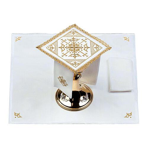 Conjunto altar 100% linho bordado cruzes 2