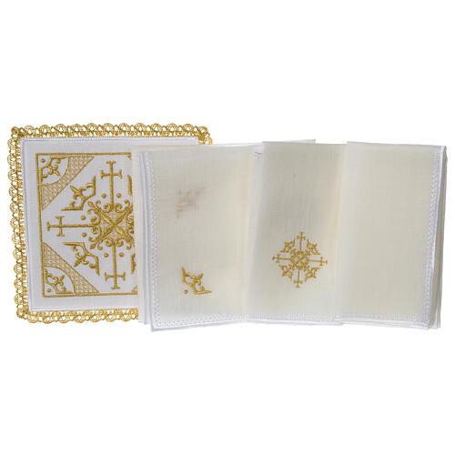 Conjunto altar 100% linho bordado cruzes 3