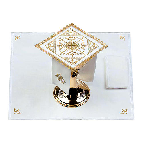 Altar cloth set 100% linen with modern design embroidery 2