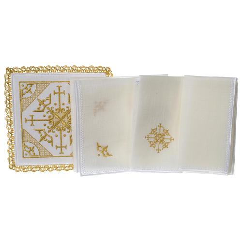 Altar cloth set 100% linen with modern design embroidery 3
