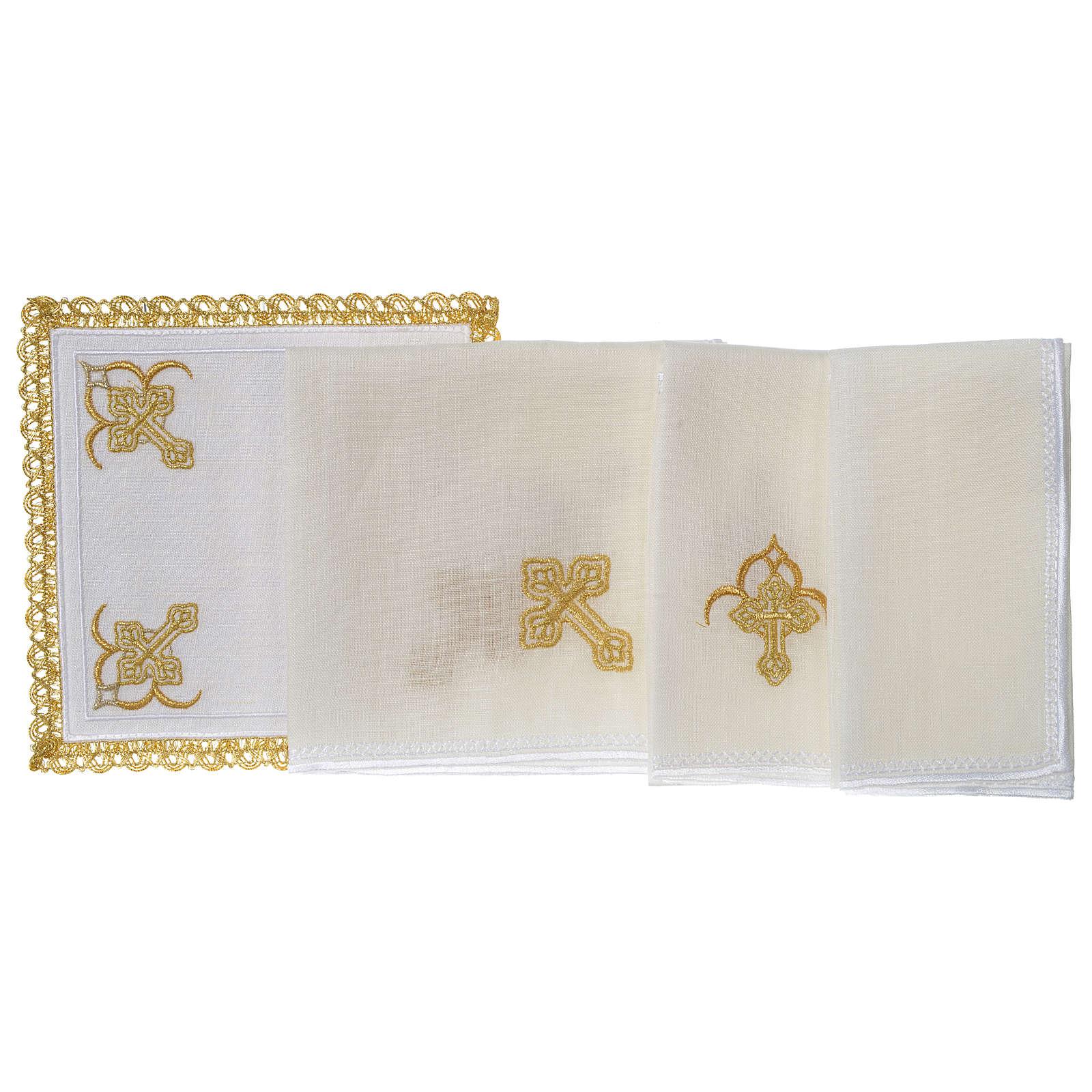 Servizio da altare 100% lino quattro Croci 4