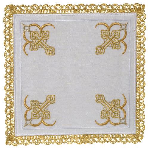Servizio da altare 100% lino quattro Croci 1