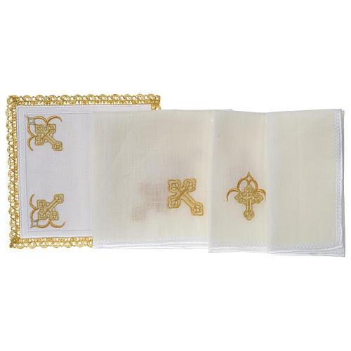Servizio da altare 100% lino quattro Croci 3