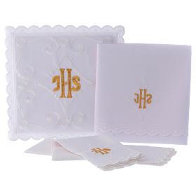 Servicio de altar con escrita IHS oro s3