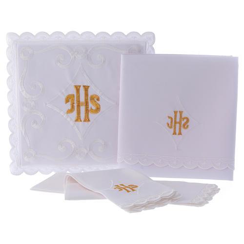 Servicio de altar con escrita IHS oro 3