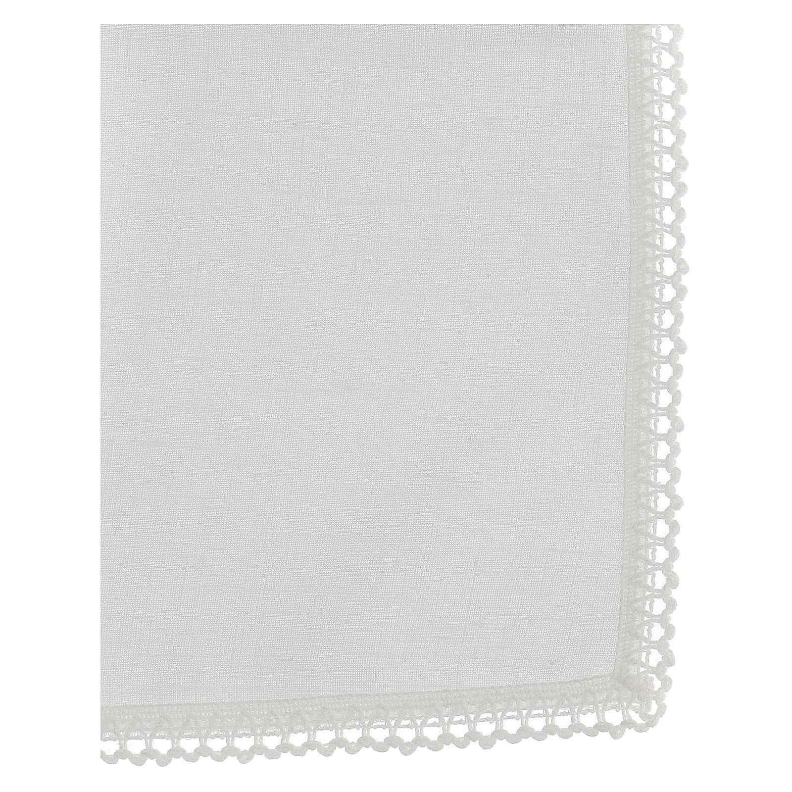Corporale bianco 100% lino con ricami bianchi 4