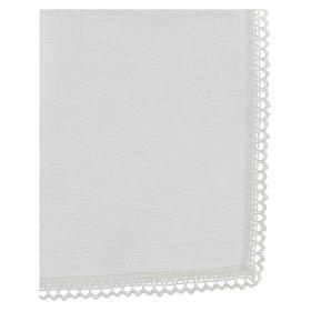 Corporale bianco 100% lino con ricami bianchi s3