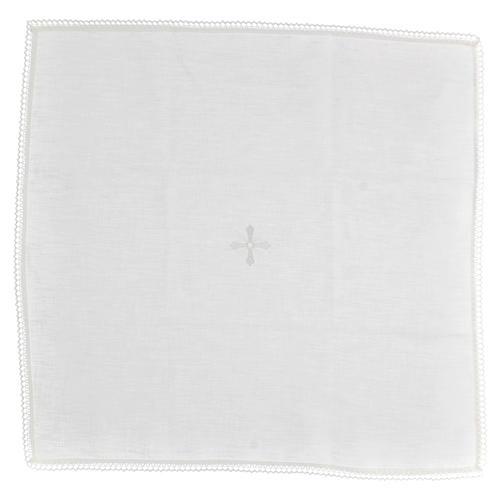 Corporale bianco 100% lino con ricami bianchi 1