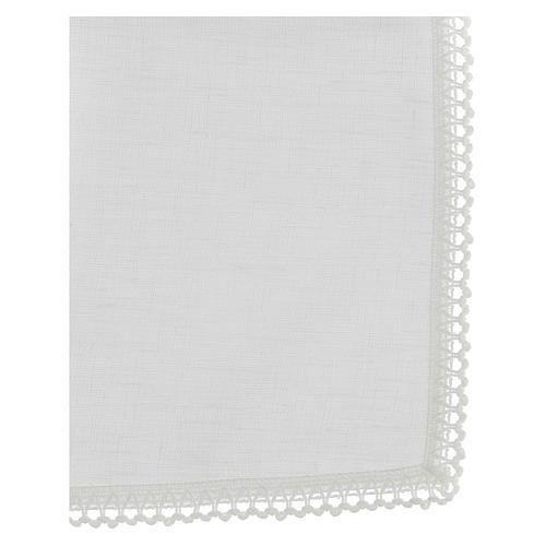 Corporale bianco 100% lino con ricami bianchi 3