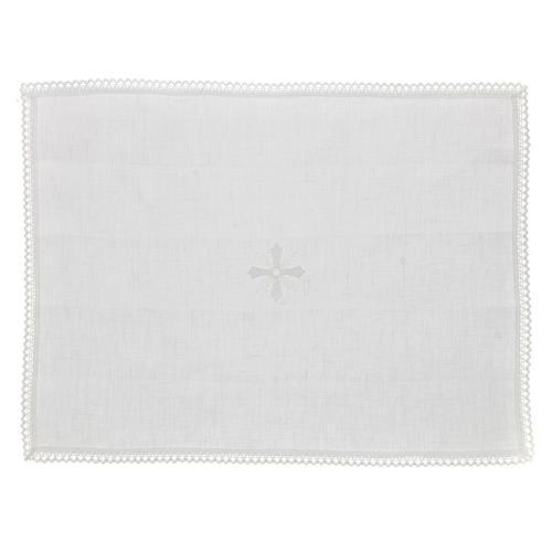 Manutergio blanco 100% hilo con bordados blancos 1