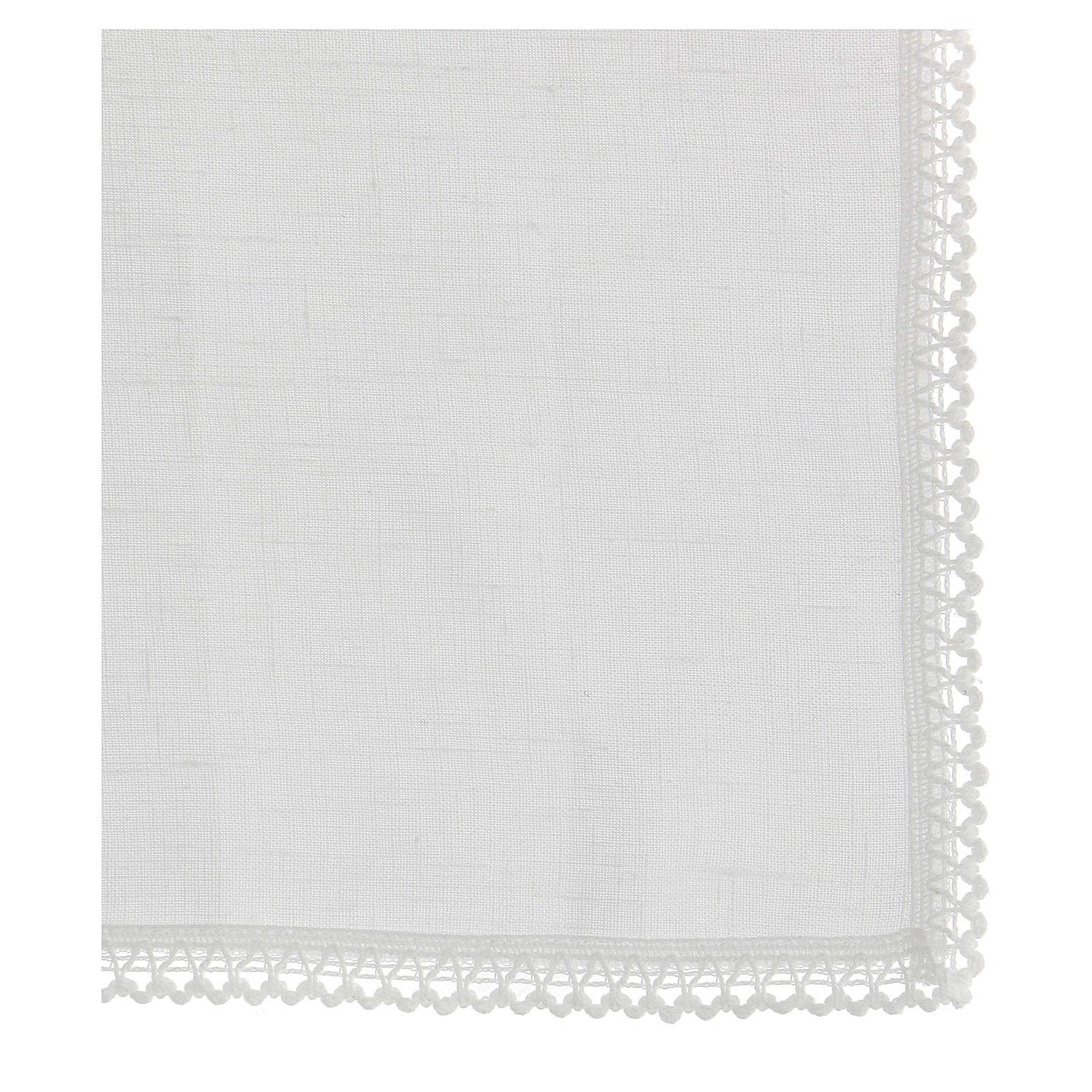 Purificatoire blanc 100% lin avec broderie blanche 4