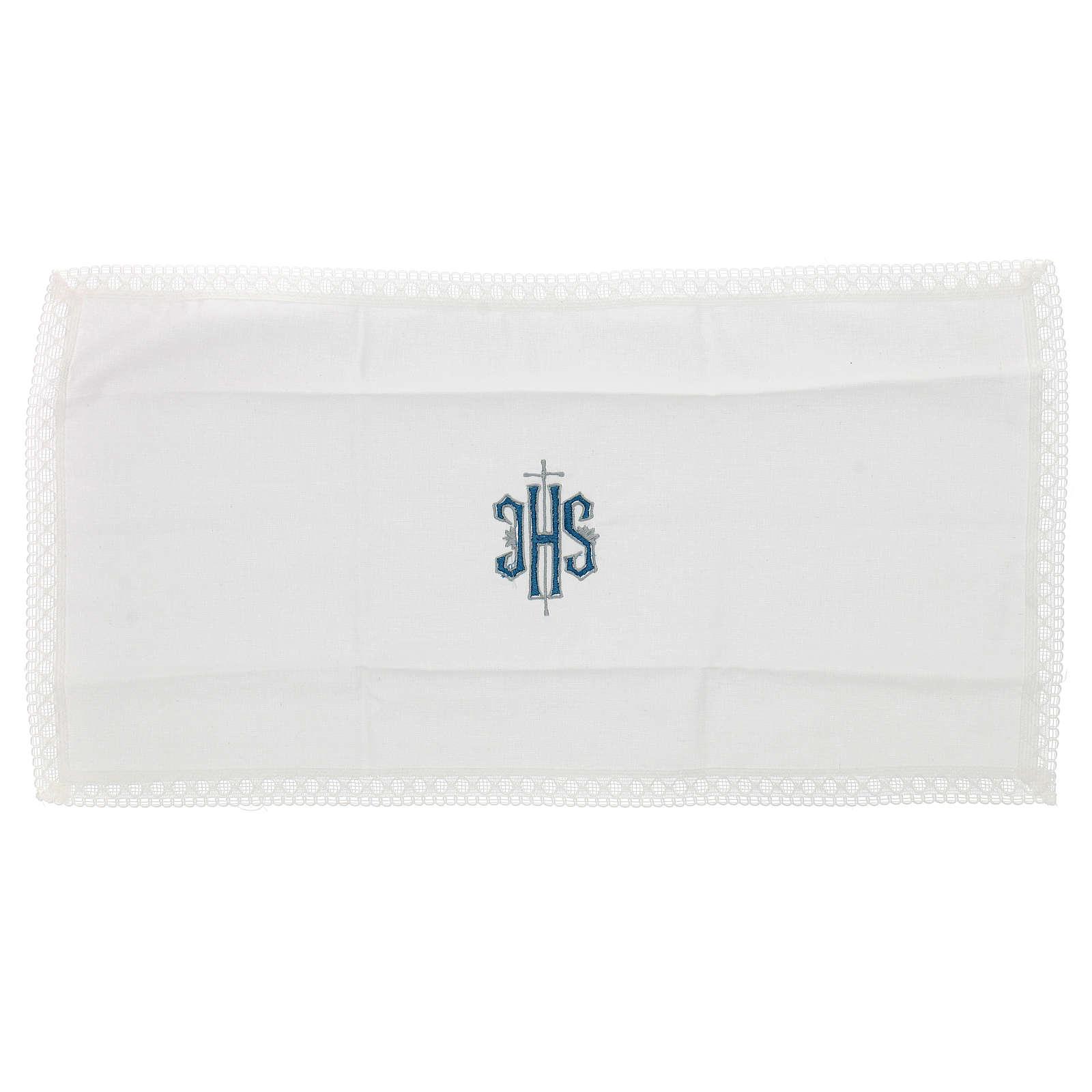 Servicio de misa bordado Ihs azul 100% algodón 4