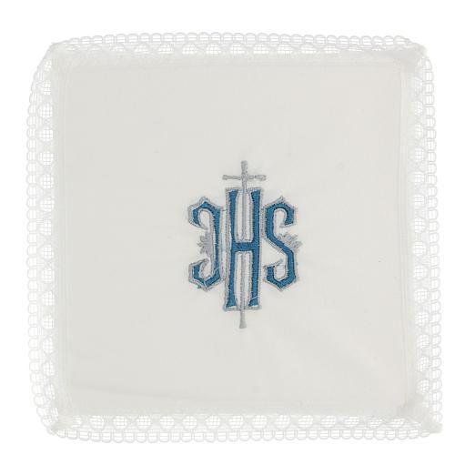 Servicio de misa bordado Ihs azul 100% algodón 1