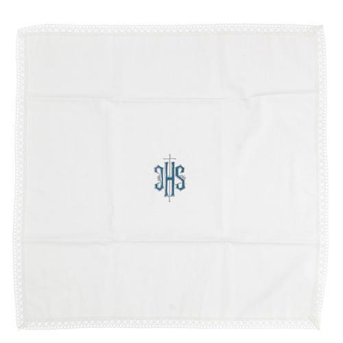 Servicio de misa bordado Ihs azul 100% algodón 3
