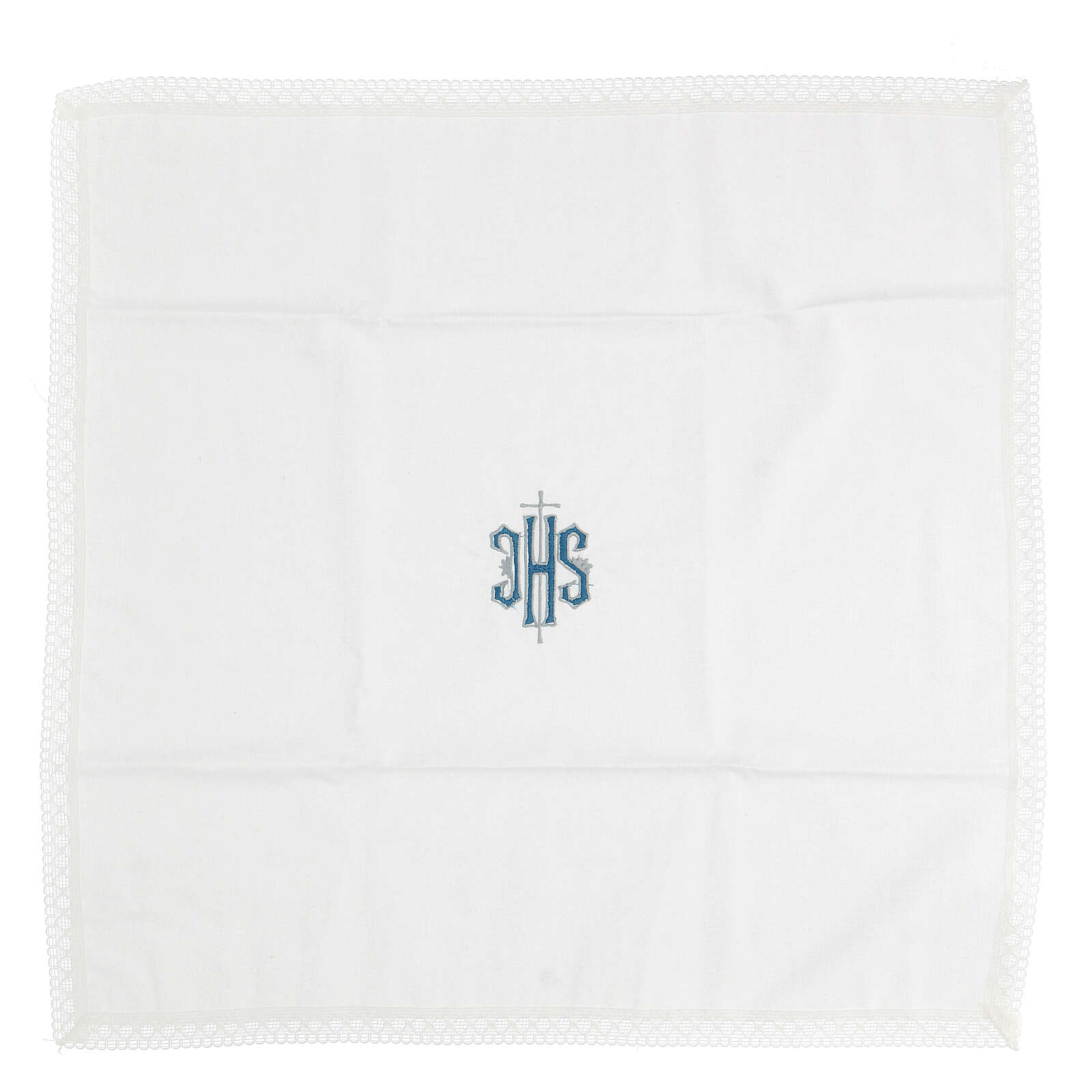 Altar linens with embroidered blue IHS 100% cotton 4