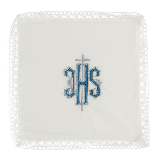 Altar linens with embroidered blue IHS 100% cotton 1