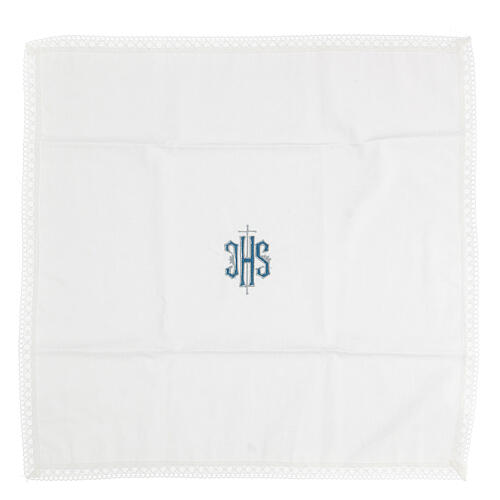 Altar linens with embroidered blue IHS 100% cotton 3