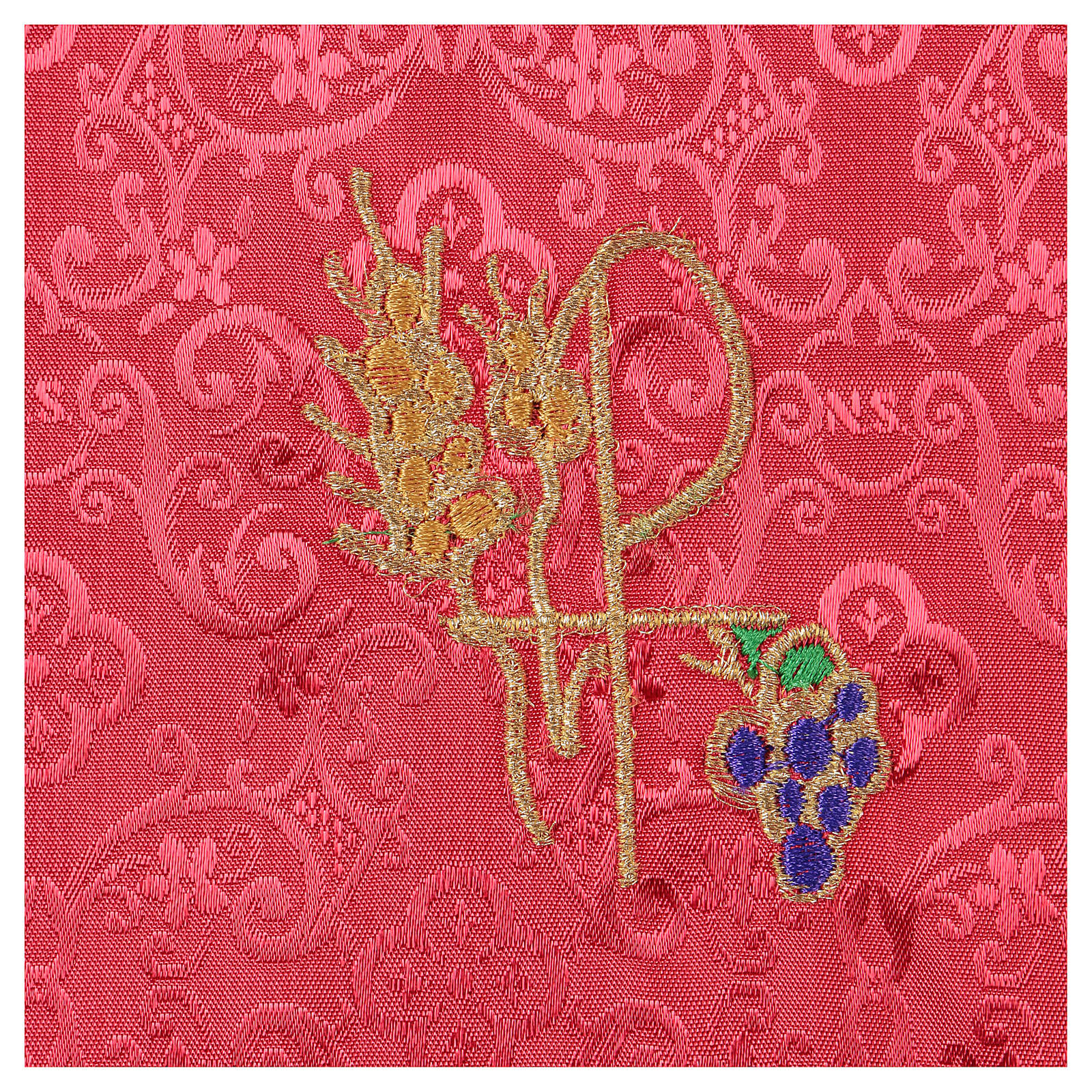 Chalice veil (pall) with Xp, wheat and grapes embroidery on red jacquard fabric 4