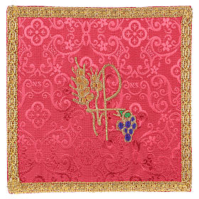 Chalice veil (pall) with Xp, wheat and grapes embroidery on red jacquard fabric s1