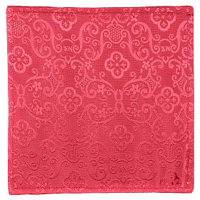 Chalice veil (pall) with Xp, wheat and grapes embroidery on red jacquard fabric s3