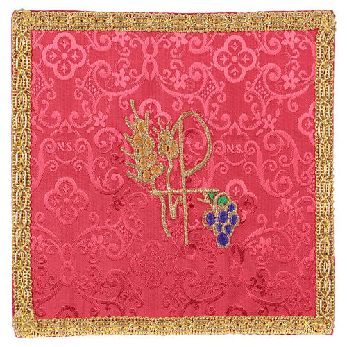 Chalice veil (pall) with Xp, wheat and grapes embroidery on red jacquard fabric 1