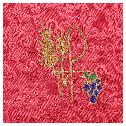 Chalice veil (pall) with Xp, wheat and grapes embroidery on red jacquard fabric 2